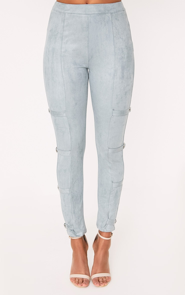 Avi Dusty Blue Faux Suede Buckle Trousers  2