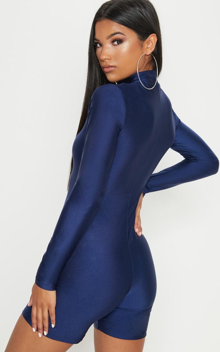 Combinaison disco bleu marine avec col haut, manches longues et zip frontal 2