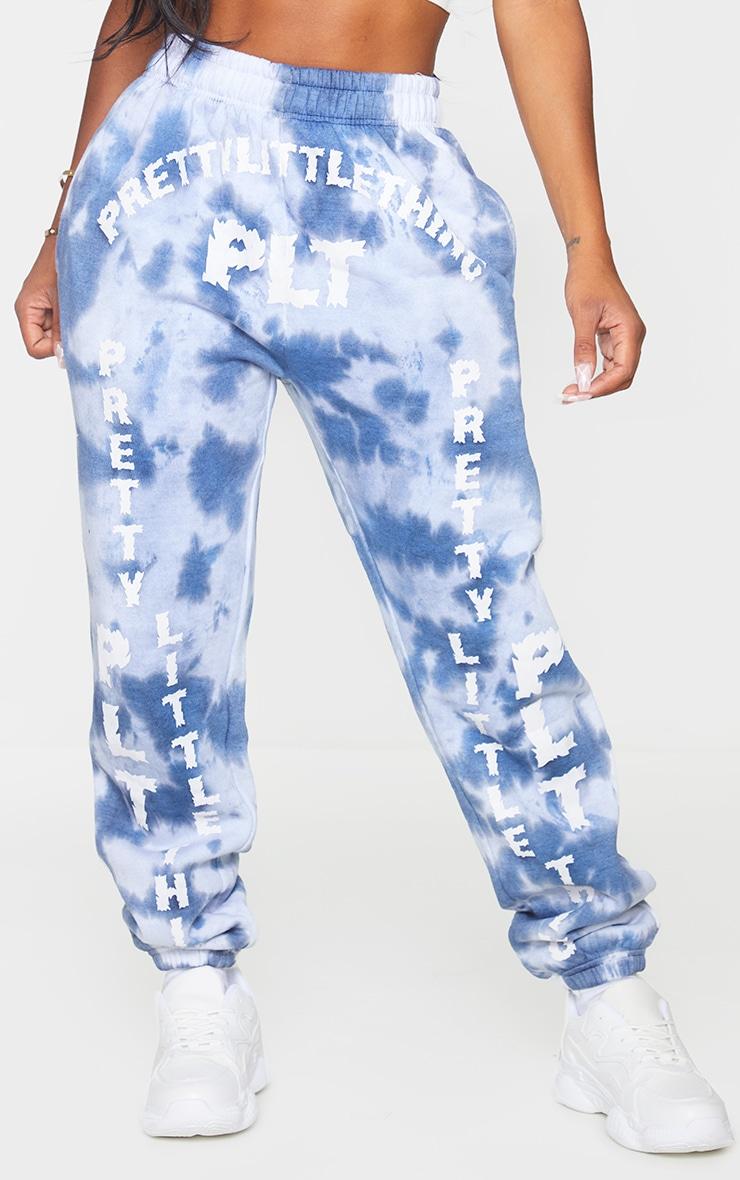 PRETTYLITTLETHING Shape Blue Tie Dye Slogan Print Joggers 2
