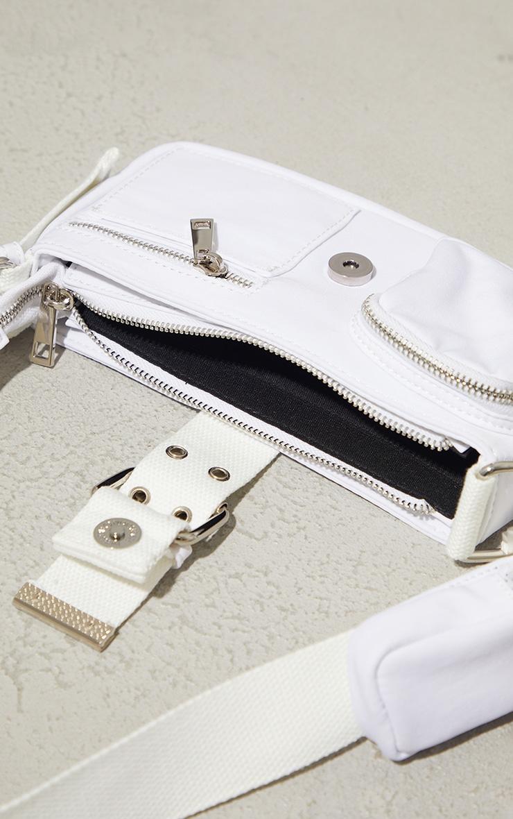 White Multi Pocket And Zip Shoulder Bag 4