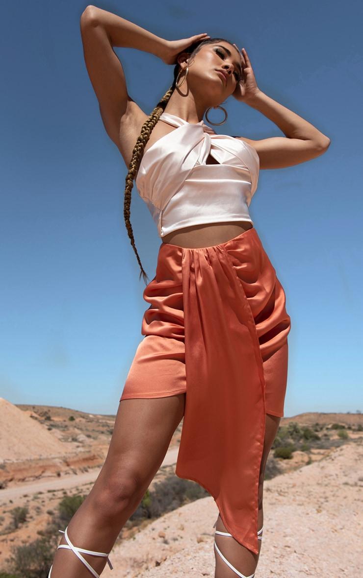 Orange Satin Drape Side Mini Skirt 1