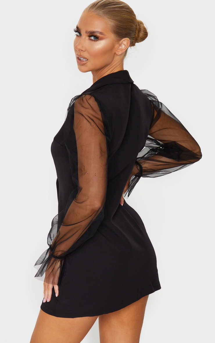 Black Button Up Organza Sleeve Blazer Dress 3