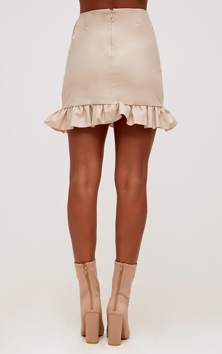 Stone Faux Leather Frill Wrap Mini Skirt 2