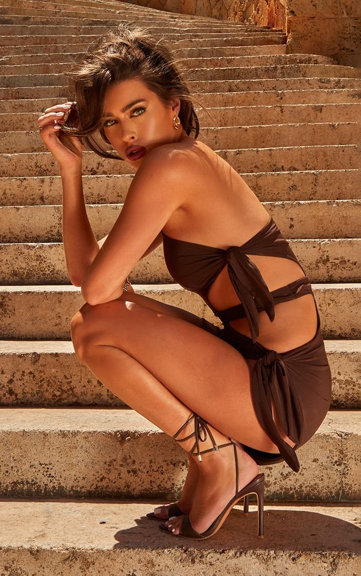 Chocolate One Shoulder Tie Side Midi Dress 2