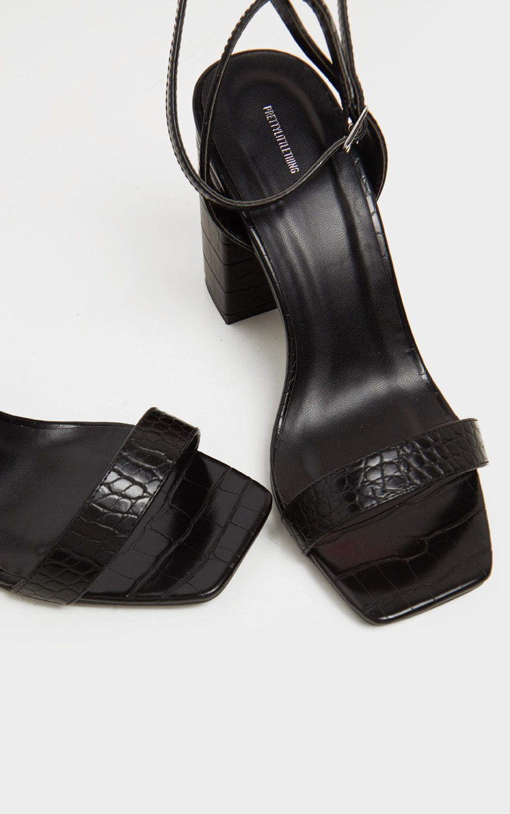 Black Croc Wide Fit Chunky Block Heel Strappy Sandal 3