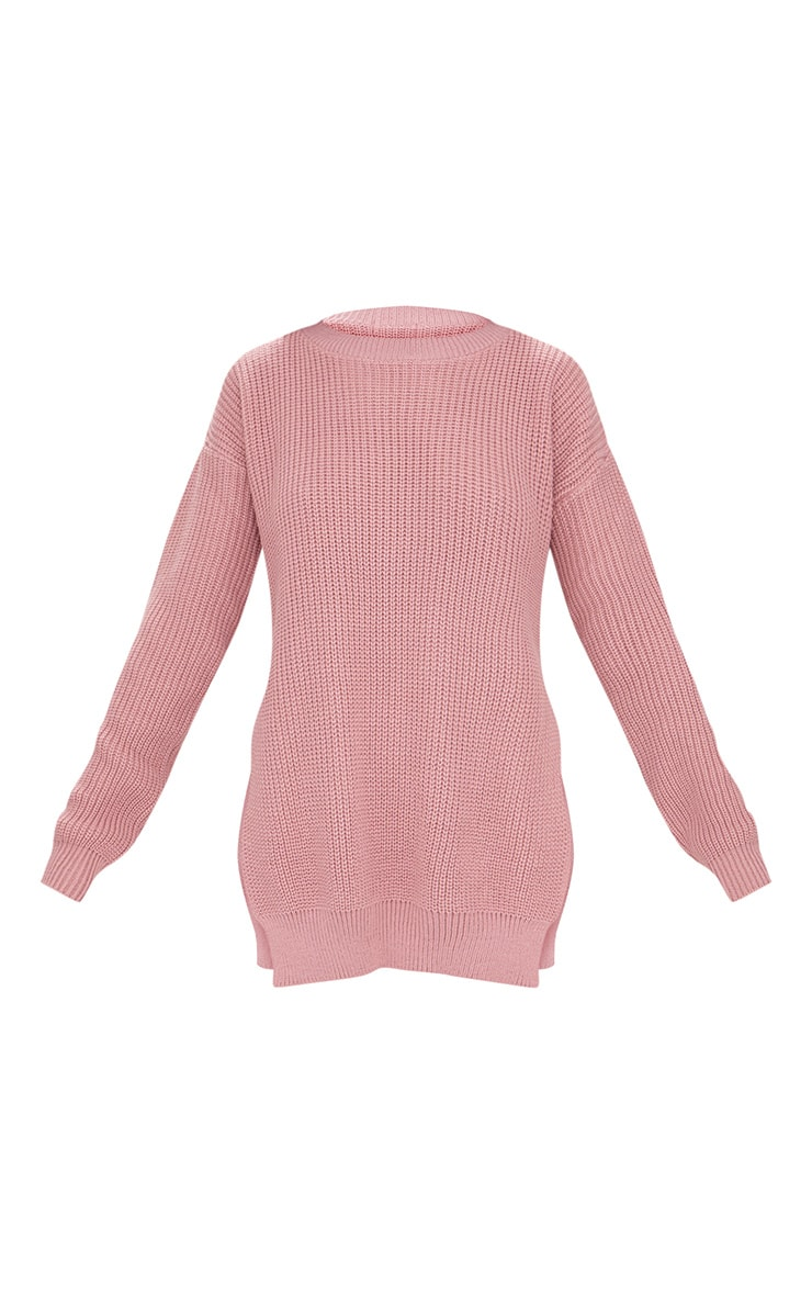 Rexx Mauve Round Neck Side Split Jumper 3