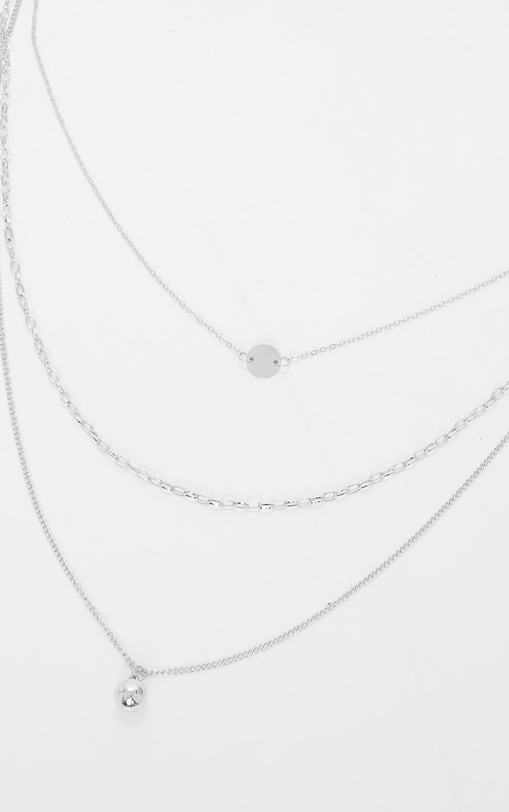 Silver Triple Chain Pendant Layering Necklace 3