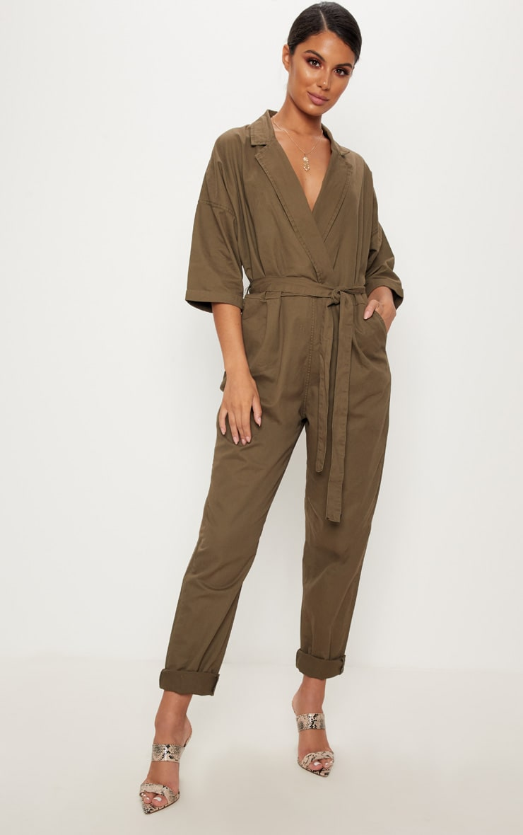Khaki Denim Utility Jumpsuit  1