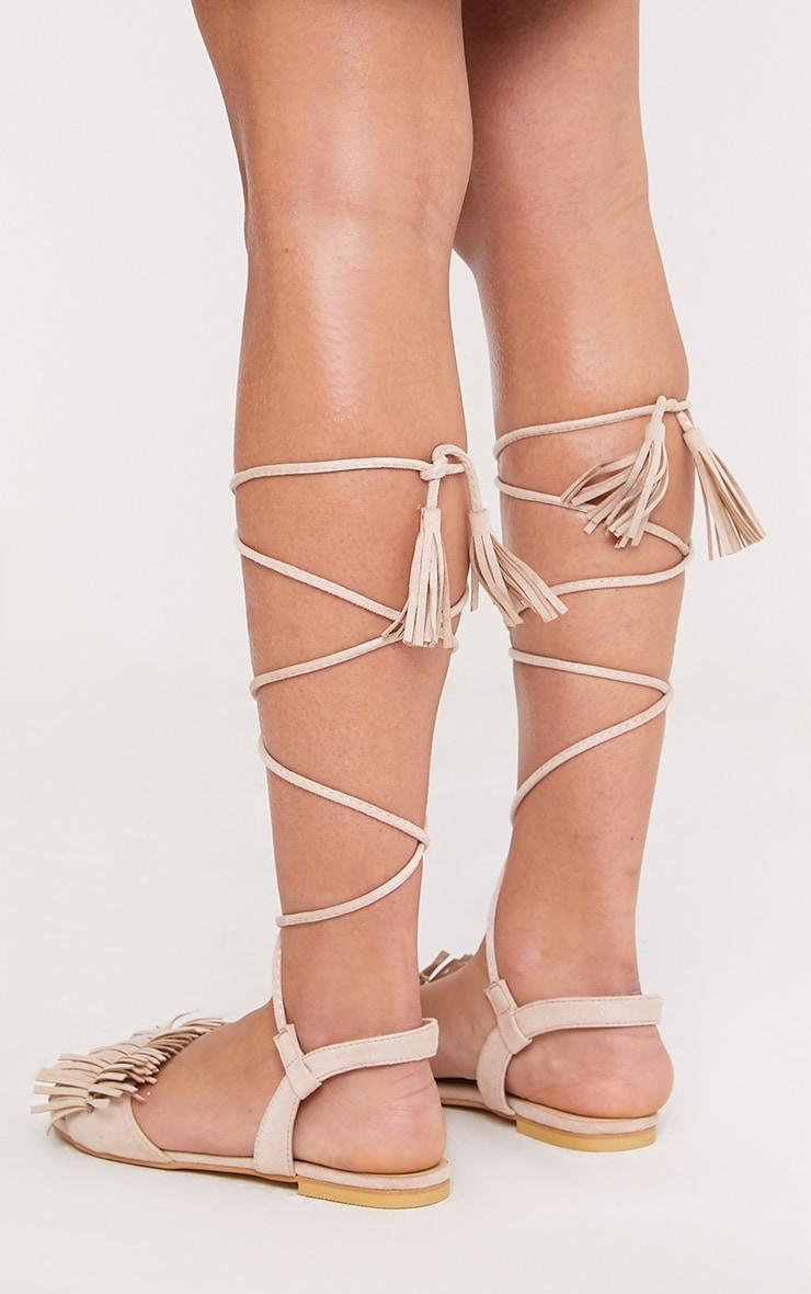 Alis Stone Tassel Lace Up Flat Sandals 4
