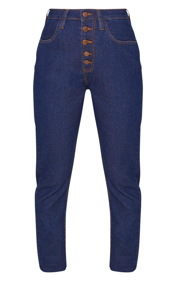 Petite Dark Blue Wash Skinny Button Front Denim Jean 3
