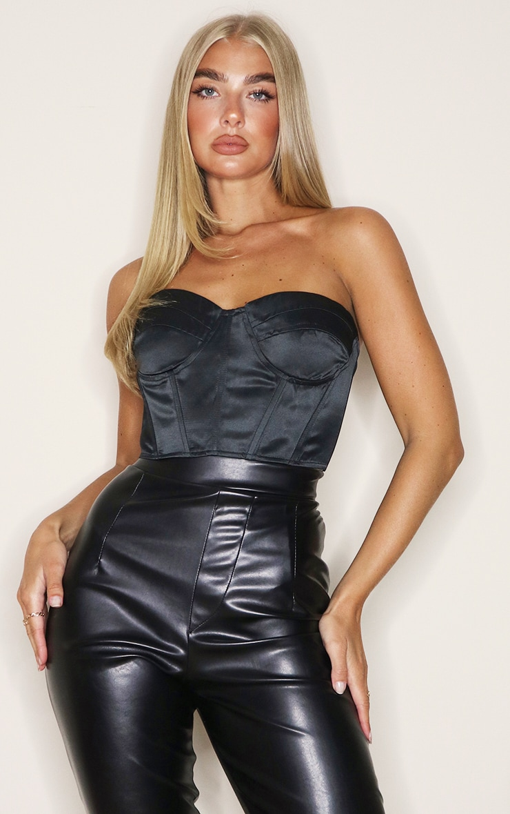 Black Satin Panel Detail Bandeau Crop Top 1