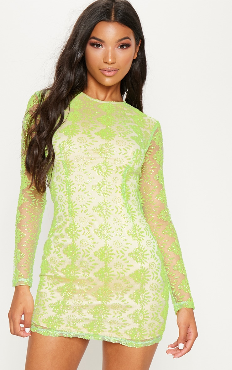 Neon Green Sequin Mesh Long Sleeve Bodycon Dress 4
