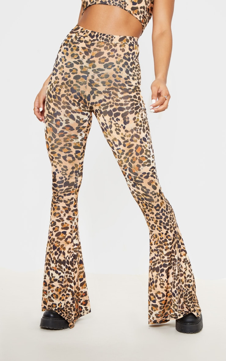 Brown Slinky Leopard Print Flared Trousers 2