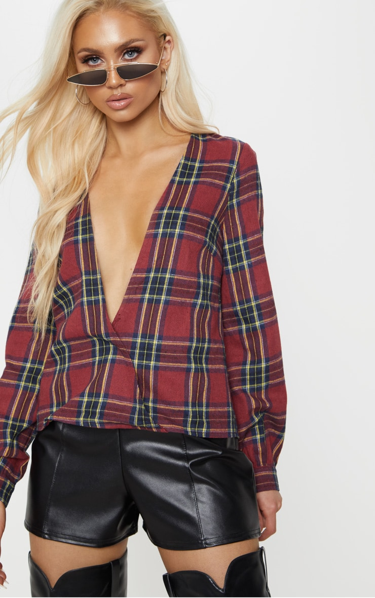 Brown Check Plunge Long Sleeve Top 1