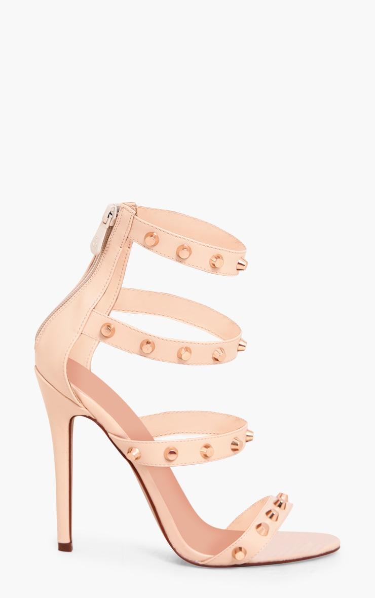 Latasha Nude Studded Strappy Heels 5