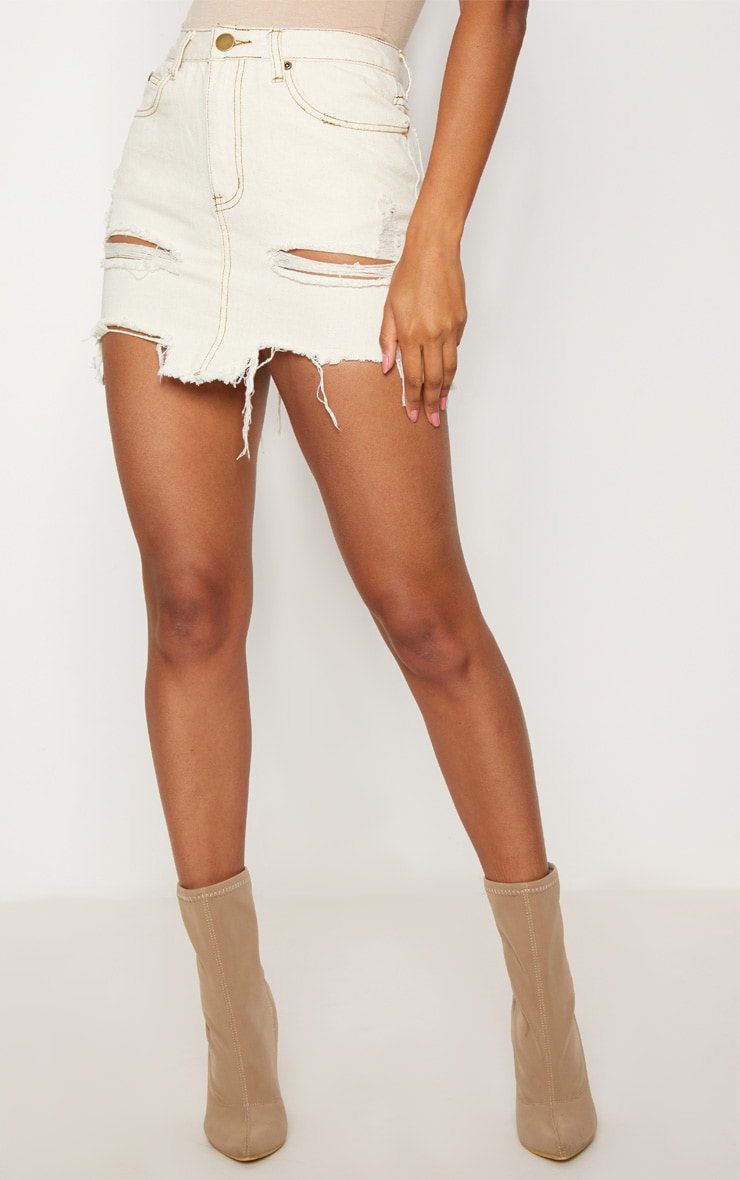Contrast Stitch Distressed Denim Ecru Mini Skirt 2