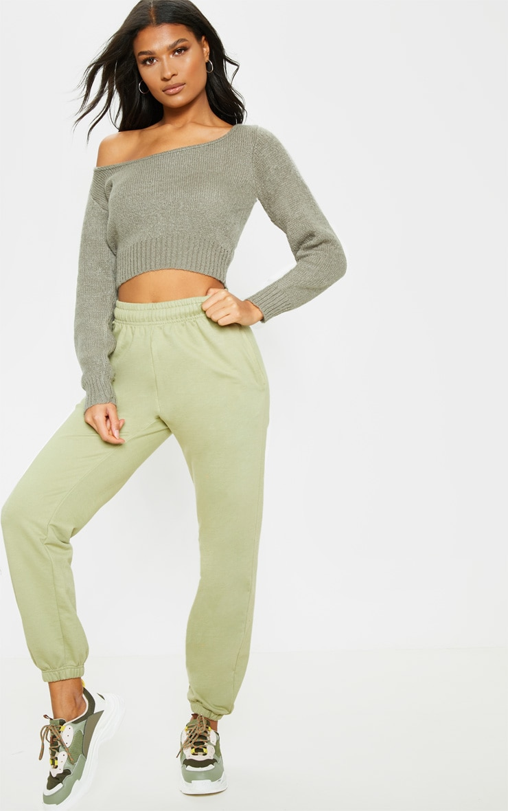 Khaki V Neck Off Shoulder Soft Knitted Crop Jumper 4