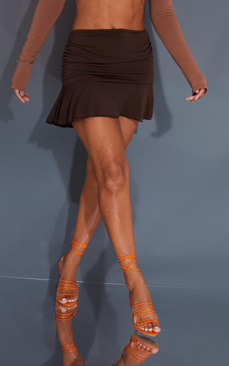 Chocolate Ruched Slinky Frill Hem Mini Skirt 2