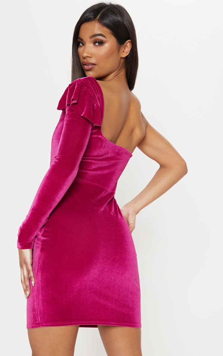 Hot Pink Velvet Plunge One Shoulder Bodycon Dress 2