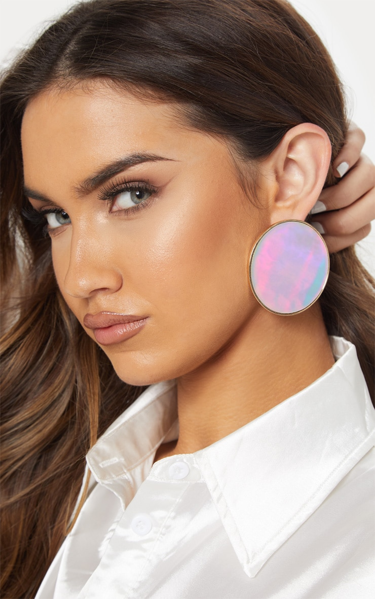 Boucles d'oreilles disques plats argentés