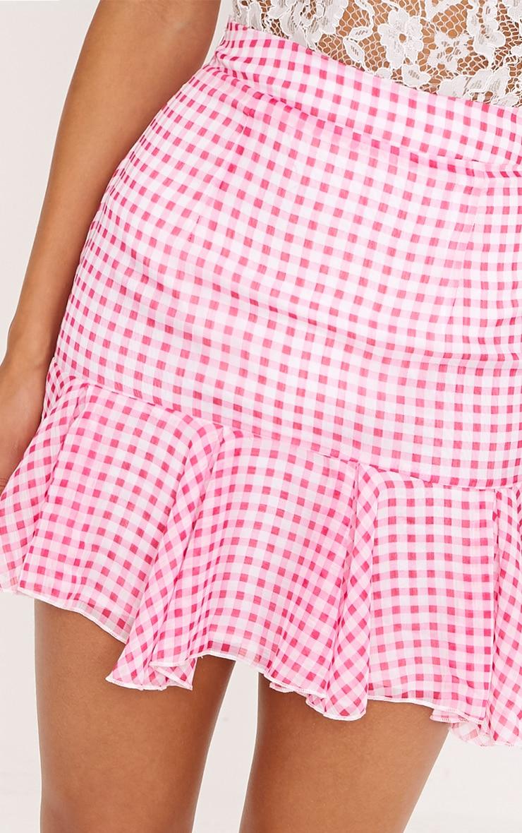 Zahara Pink Chiffon Floaty Hem Gingham Mini Skirt  6
