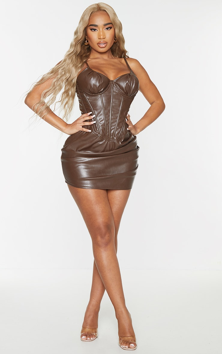 Shape Chocolate Brown Faux Leather Corset Lace Up Back Bodycon Dress 1