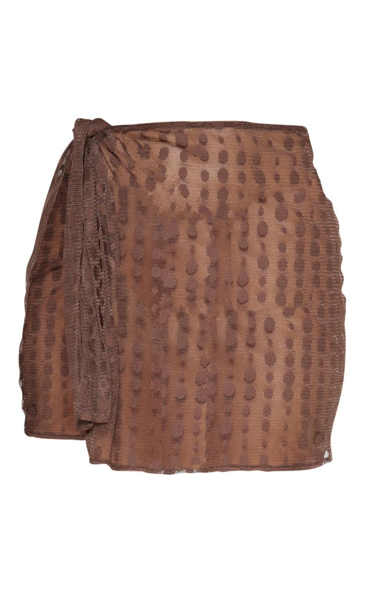 Chocolate Polka Dot Tie Beach Skirt 3