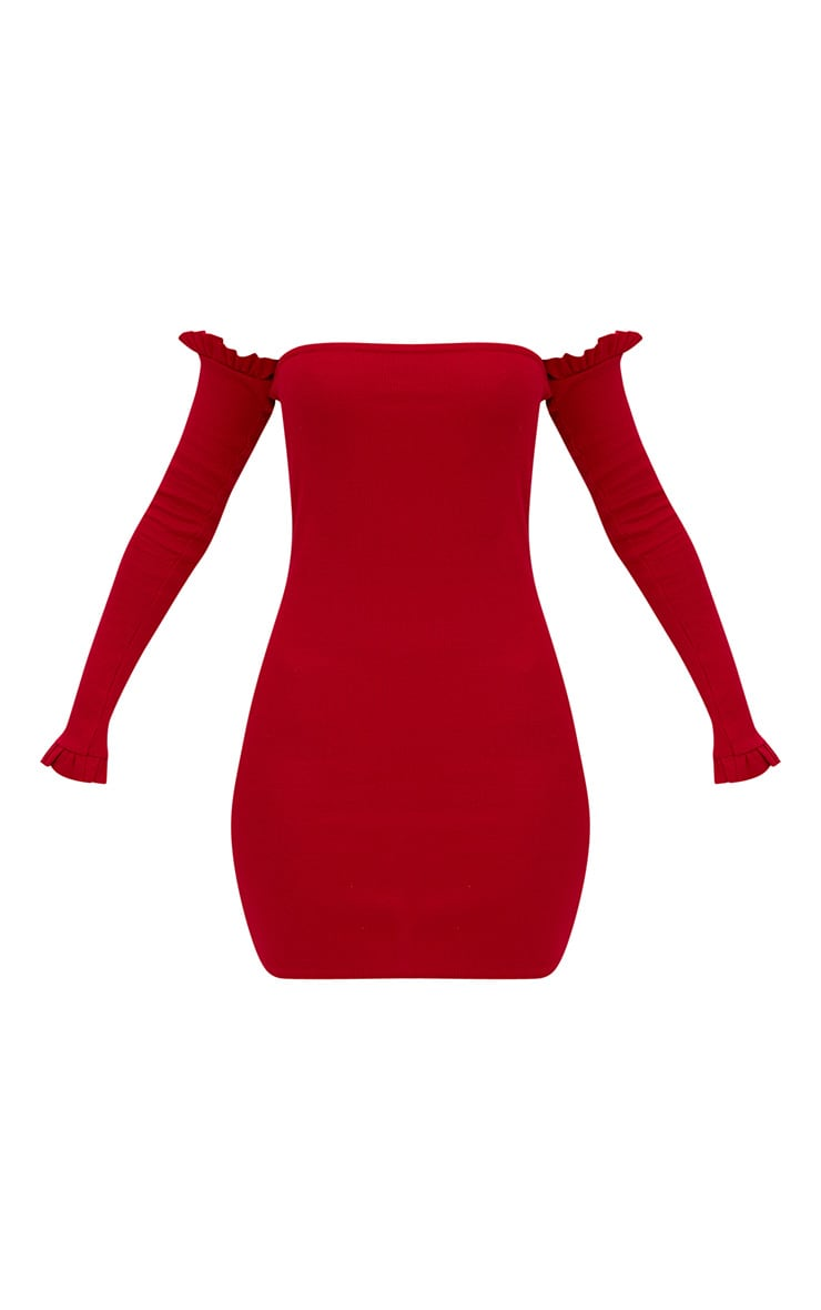 Red Ribbed Frill Bardot Bodycon Dress 3