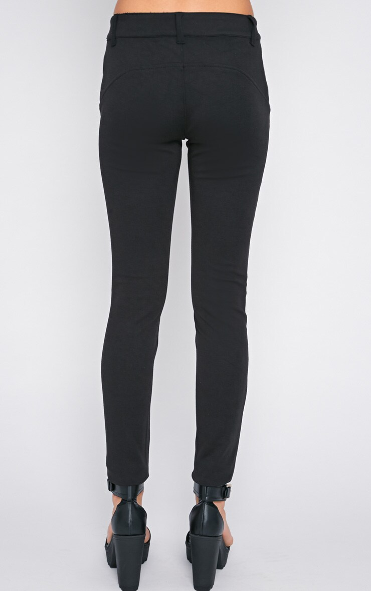 Sheree Black  Leather Panel Jeans With PU Floral Detail 2