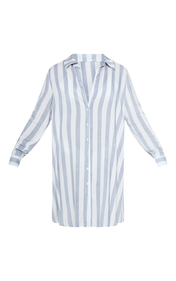 Blue Wide Stripe Midi Beach Shirt Dress 3
