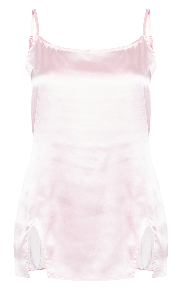Baby Pink Thigh Split Satin Nightie 5