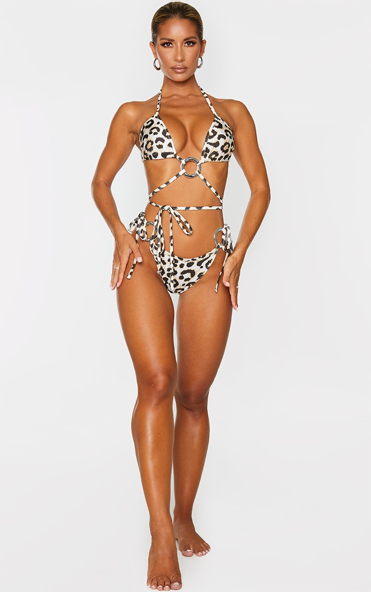Leopard Ring Tie Side Bikini Bottoms 4