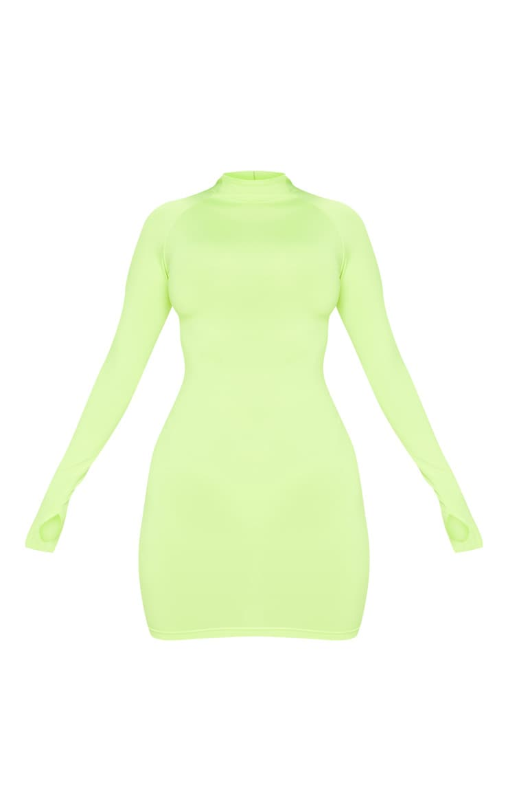 Lime Slinky Long Sleeve Zip Up Bodycon Dress 3