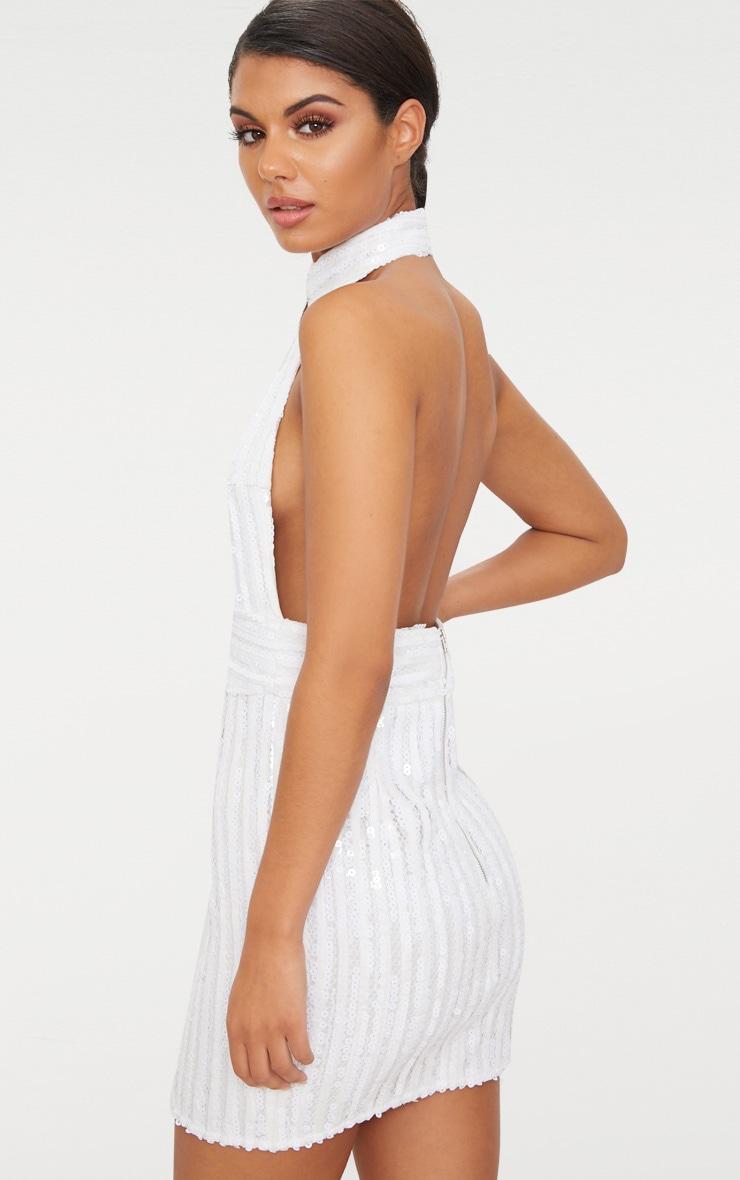 White Sequin Backless High Neck Cross Over Detail Bodycon Dress 2