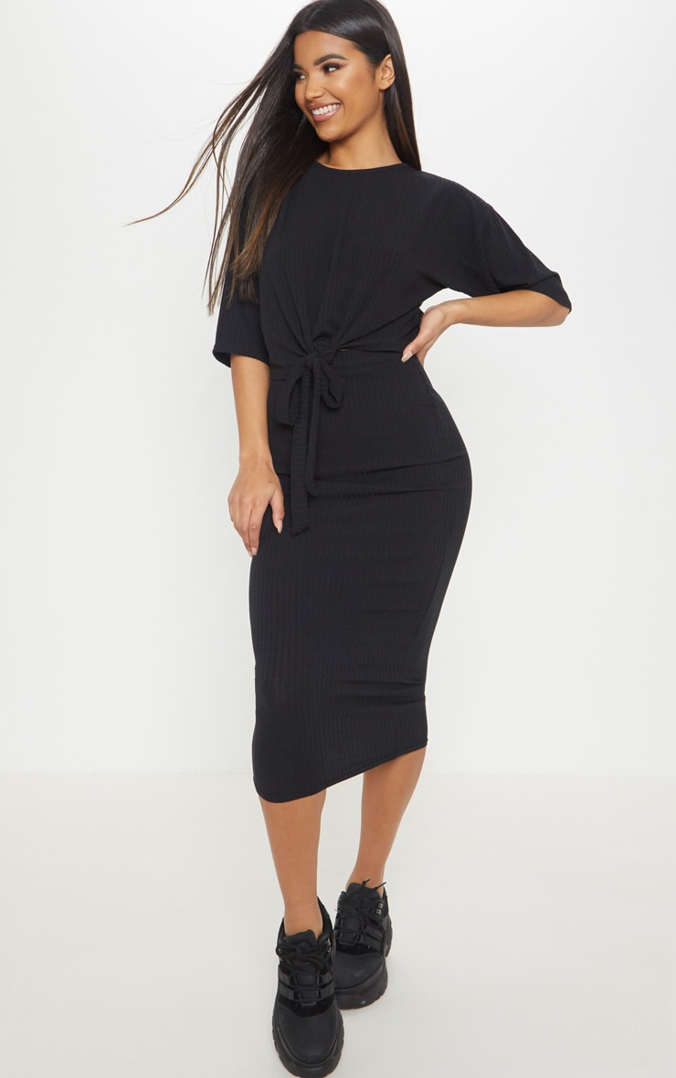 Black Rib High Waisted Midi Skirt