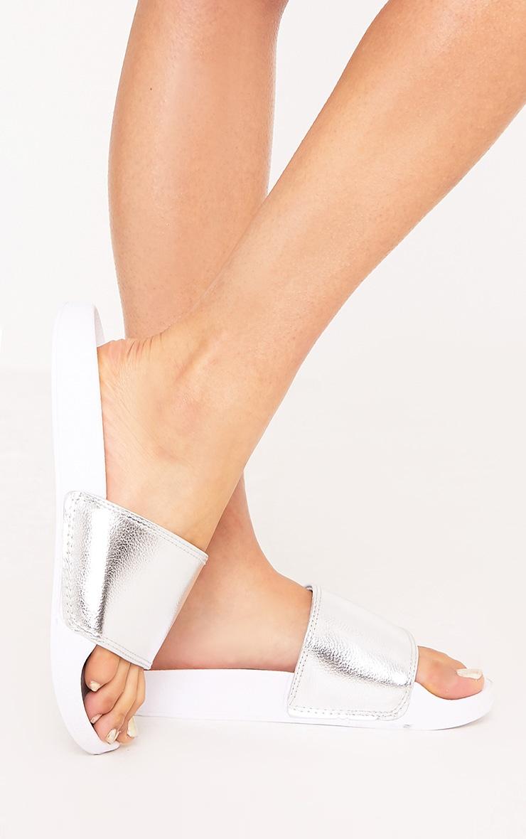 Jenetta Silver Metallic Slides 2