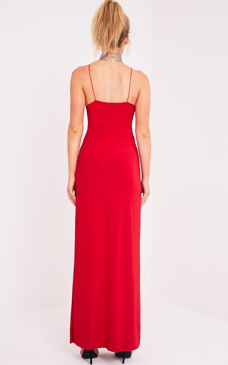 Irinah Red Slinky Strappy Plunge Maxi Dress 2