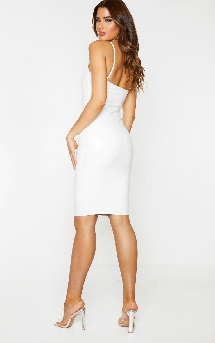 Tall Cream PU Ruched Bust Midi Dress 3