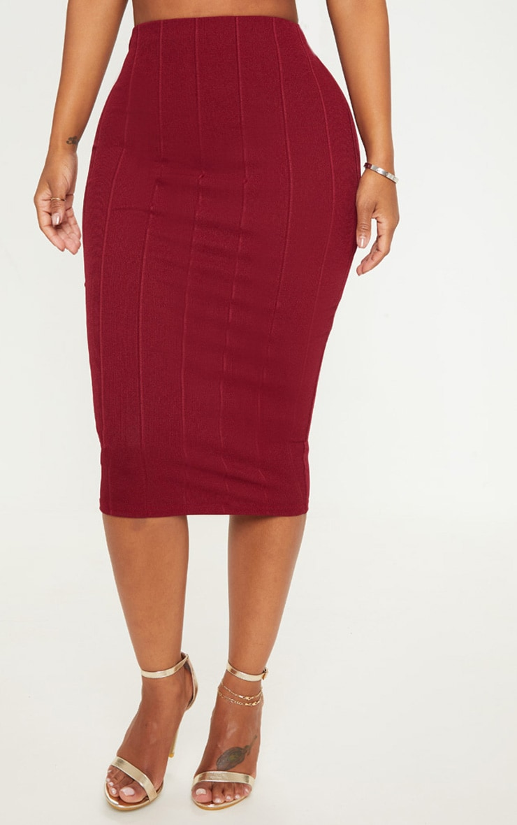 Shape Burgundy Bandage Midi Skirt 2