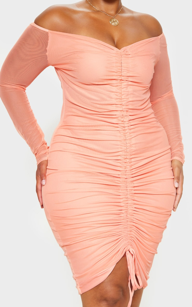 Plus Peach Mesh Ruched Bardot Midi Dress 5