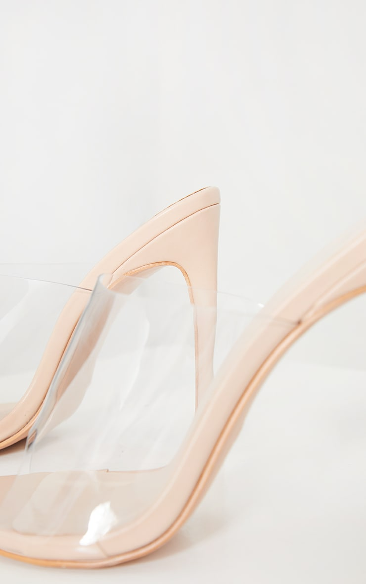 Nude Clear Strap Pu Point Toe High Heels 4