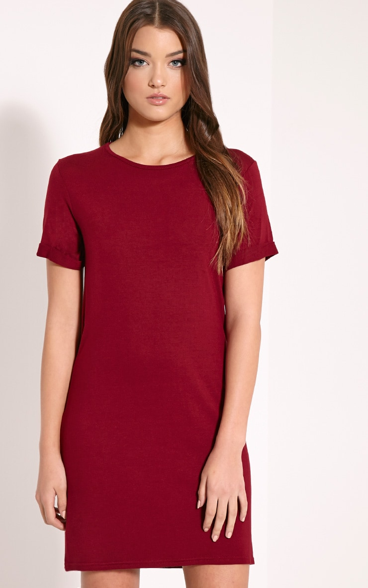 Basic Wine Boyfriend Jersey T-Shirt Dress 1