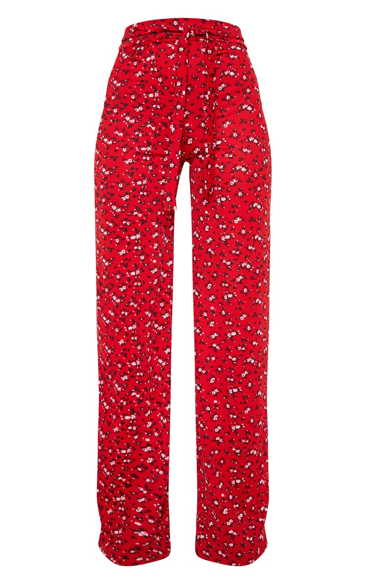 Red Ditsy Floral Tie Waist Wide Leg Pants 3