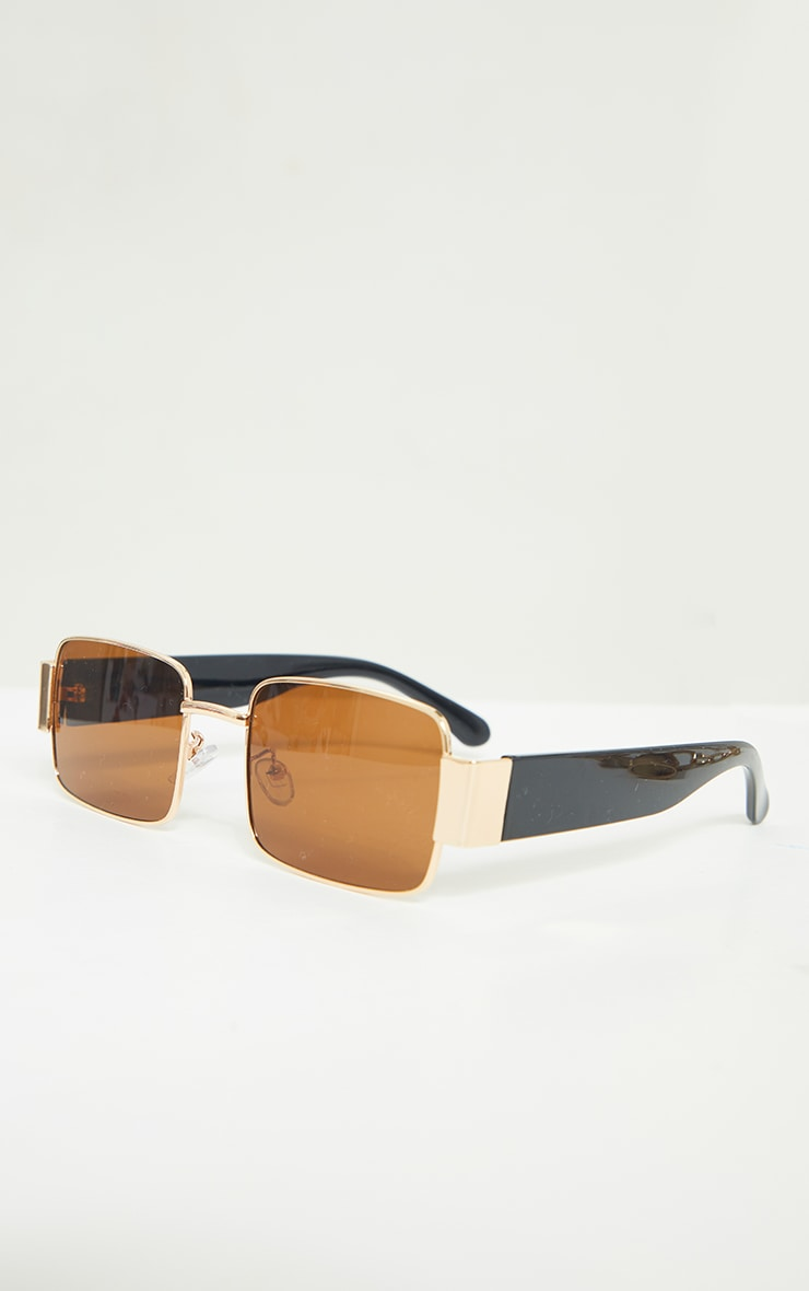 Brown with Gold Frame Small Square Vintage Effect Sunglasses 3