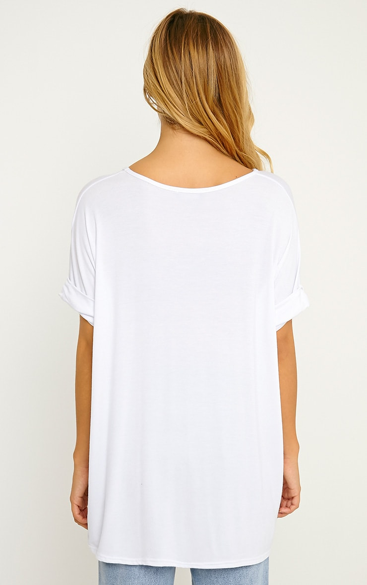 Basic White V-Neck Roll Sleeve T-Shirt 2