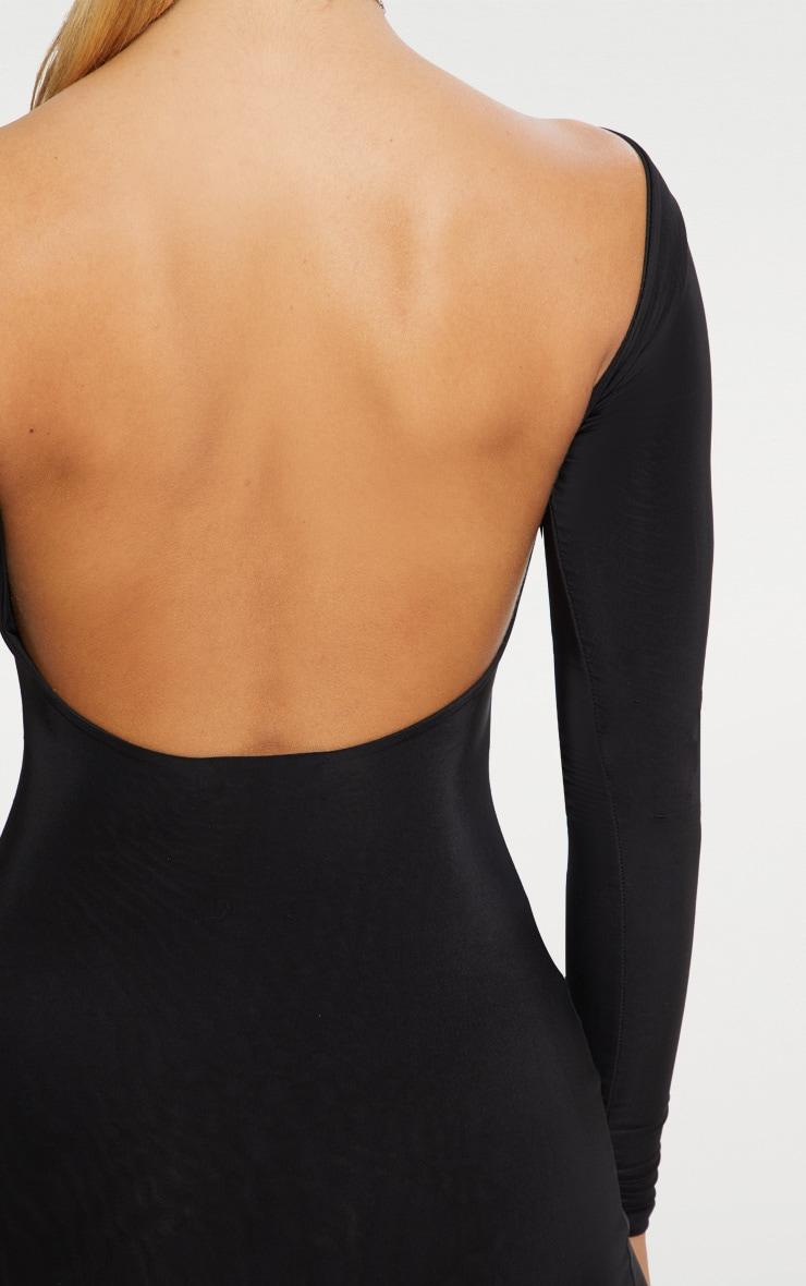 Seconde Peau- Robe moulante noire ouverte dans le dos 4