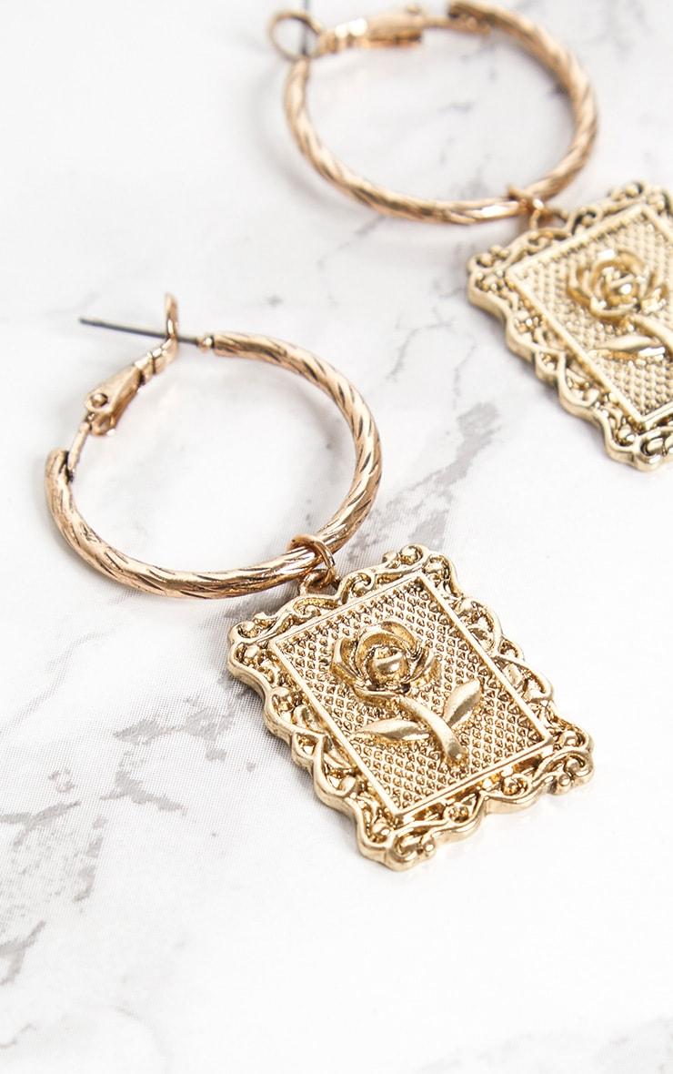 Gold Rose Square Pendant Hoop Earrings 4
