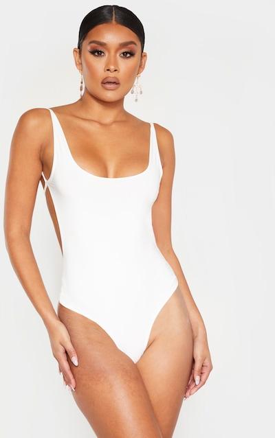 White Slinky Back Strap Detail Bodysuit