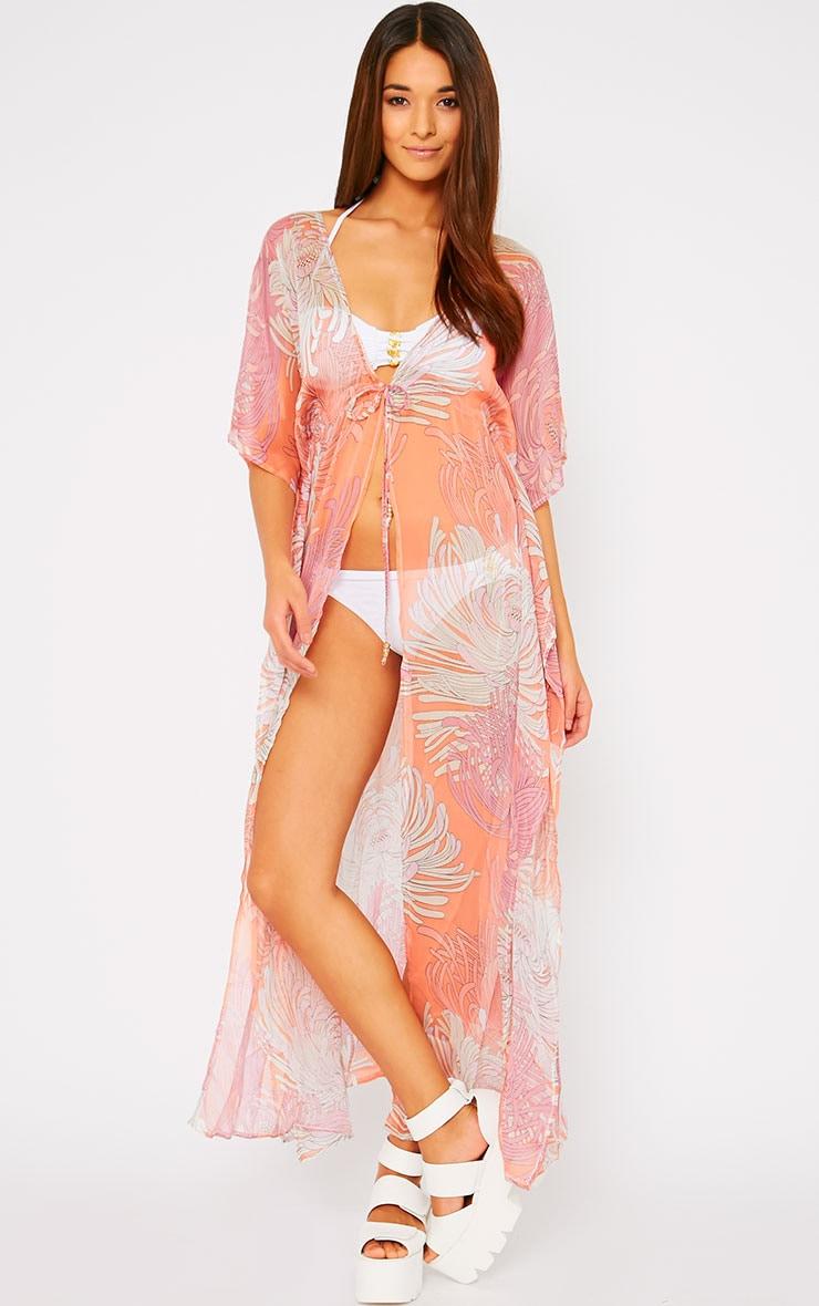 Mercy Pink Sheer Print Kimono 1