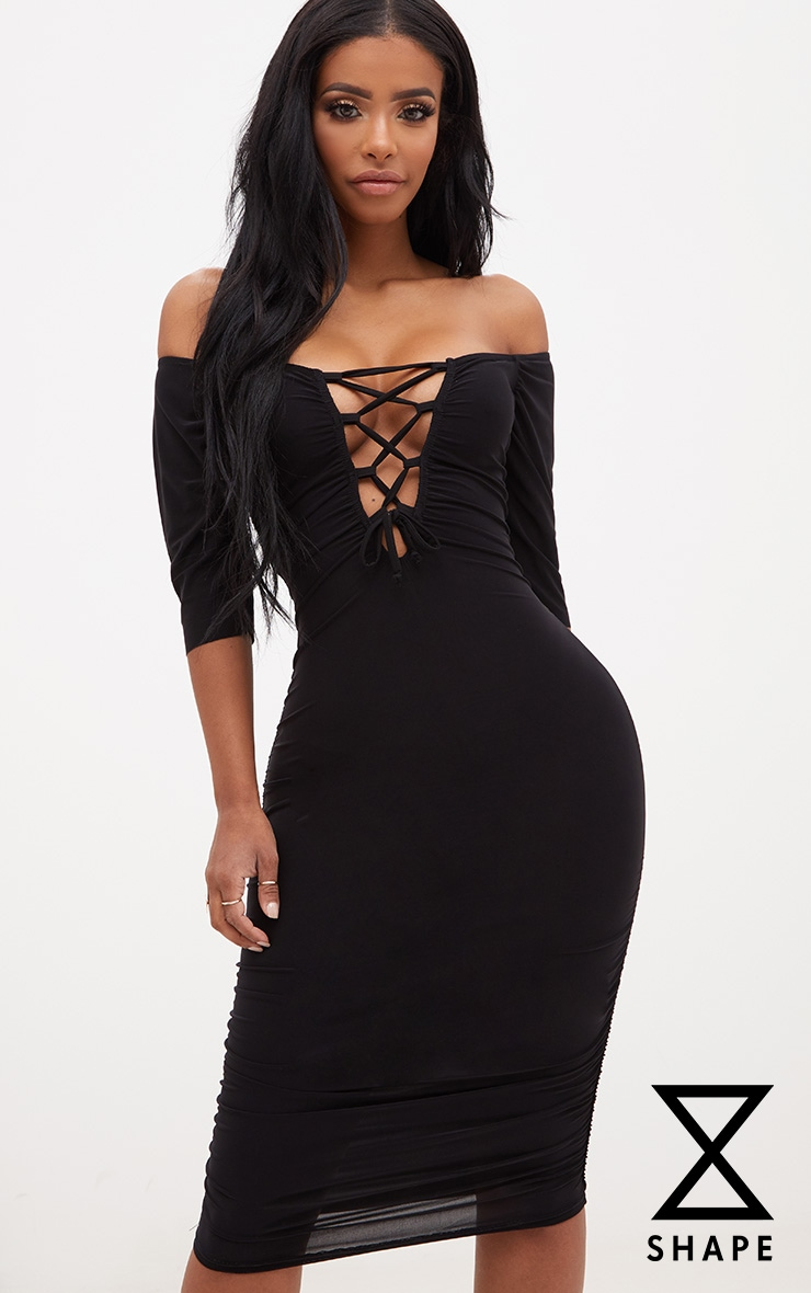 Shape Black Bardot Lace Up Ruched Midi Dress 1
